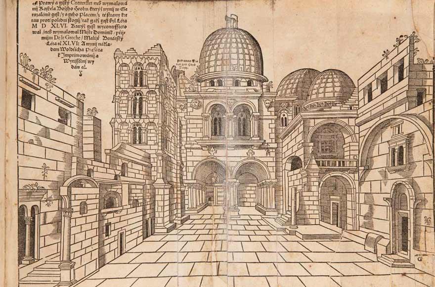 Holzschnitt der Grabeskirche, groß